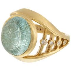 Robin Rotenier 5.30 Carat Carved Aquamarine Diamond Yellow Gold Cocktail Ring