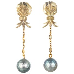 Robin Rotenier Pearl Yellow Gold Drop Dangle Earrings