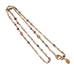 Reinstein Ross Ruby Sapphire Amethyst Emerald Pearl Yellow Gold Bead Necklace
