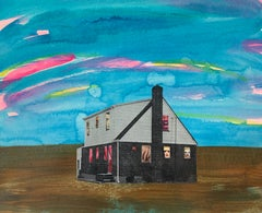 303 House Project, Acrylic Painting, Collage, Mixed Media, Paper, Signed