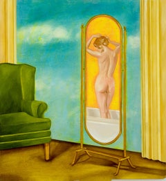 I'm A Good Listener, Oil Painting, Canvas, Figurative Art, Nude, Signed