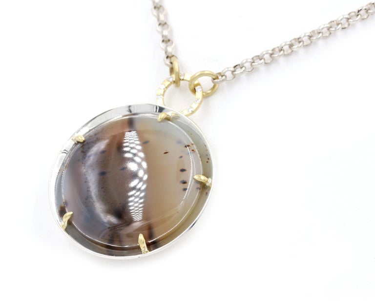 Robin Waynee, Montana Agate Necklace, Sterling Silver and 18 Karat Gold 2