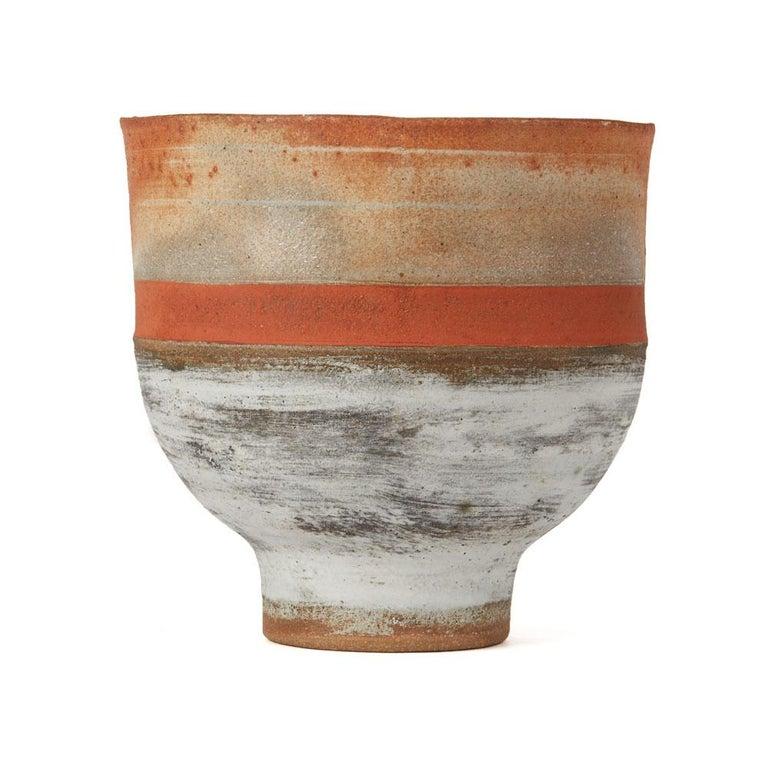 Robin Welch Orange Glazed Studio Pottery Footed Bowl 20th Century In Excellent Condition In Bishop's Stortford, Hertfordshire