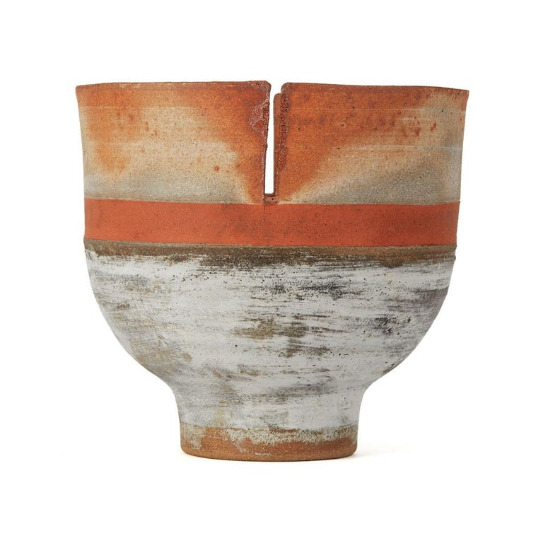 Robin Welch Orange Glazed Studio Pottery Footed Bowl 20th Century 1
