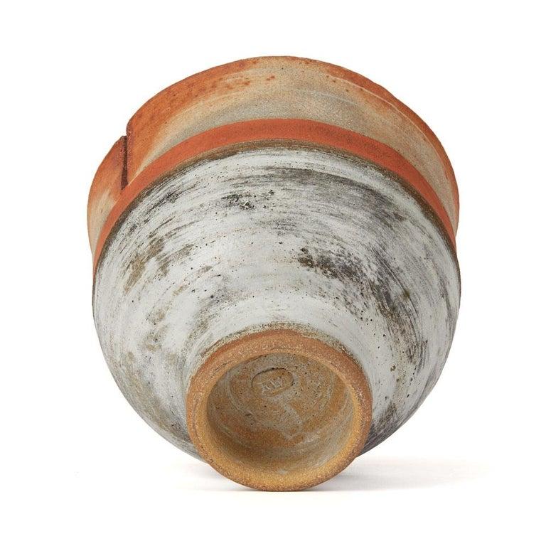 Robin Welch Orange Glazed Studio Pottery Footed Bowl 20th Century 3