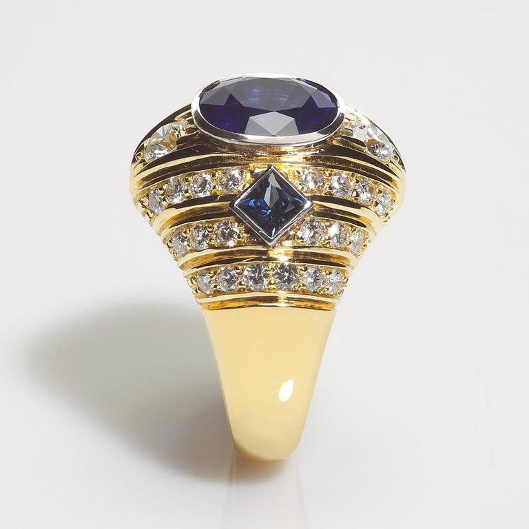 Cushion Cut Robin Woolard 3.77 Carat Ceylon Cushion Sapphire Diamond 18 Karat Gold Ring For Sale