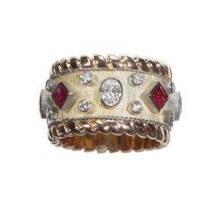 Robin Woolard Burmese Ruby Diamond Platinum 18 Karat Yellow Red Gold Band