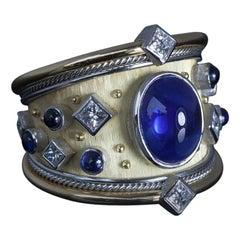 Robin Woolard Ceylon Cabochon Sapphire Diamond Platinum 18 Karat Gold Ring