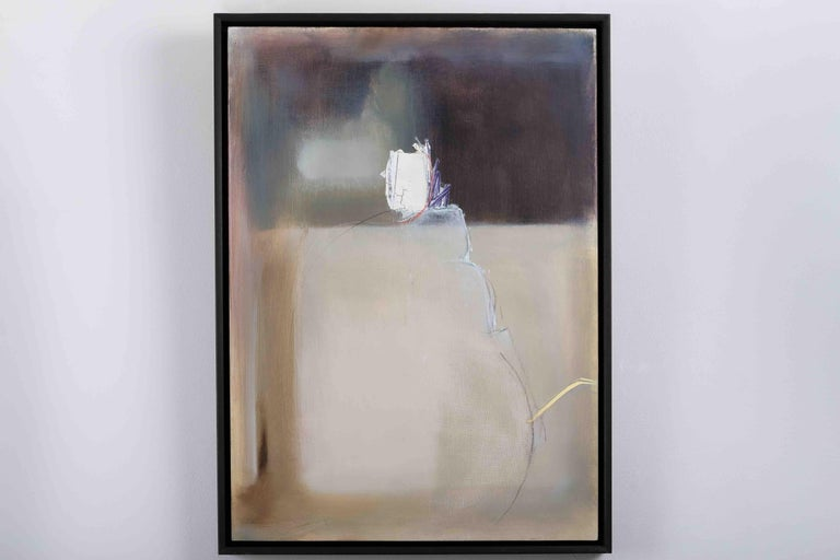 French Composition: Minimal Oil Painting, Artist Collaboration - Brown Abstract Painting by Robinson & McMahon