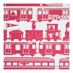 Robo Rail Designer Wallpaper in Strawberry 'Firetruck Red on Soft White'