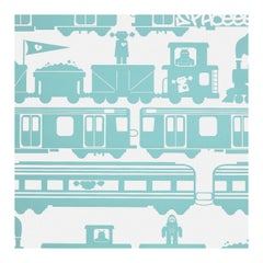 Robo Rail Designer Wallpaper in Surf 'Aqua on Soft White'