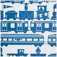 Roborail Designer Wallpaper in Color Atlantic 'Navy Blue on Soft White'