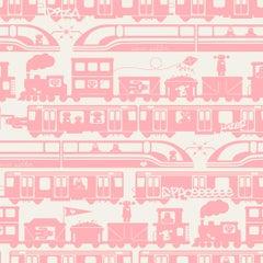 Robo Rail Designer Wallpaper in Peony 'Rosey Pink on Soft White'