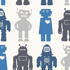 Robots Designer Wallpaper in Blue 'Blues and Greys'