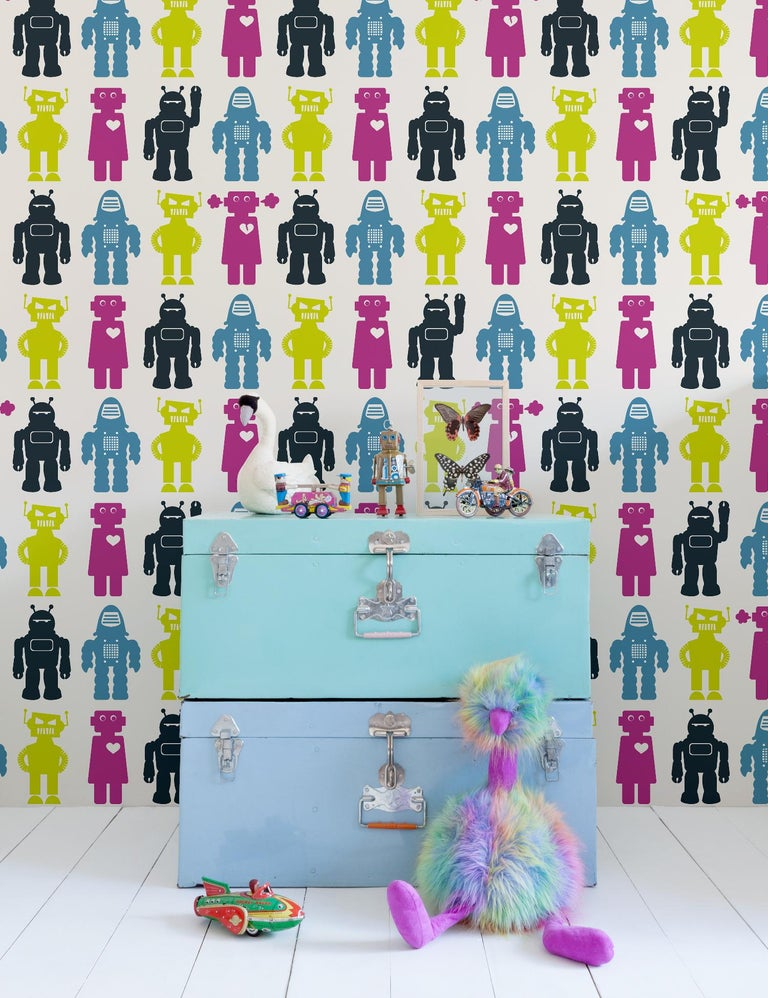 This hand-printed wall-covering with Aimée's signature robots is he perfect wallpaper for your child's nursery, bedroom or playroom!