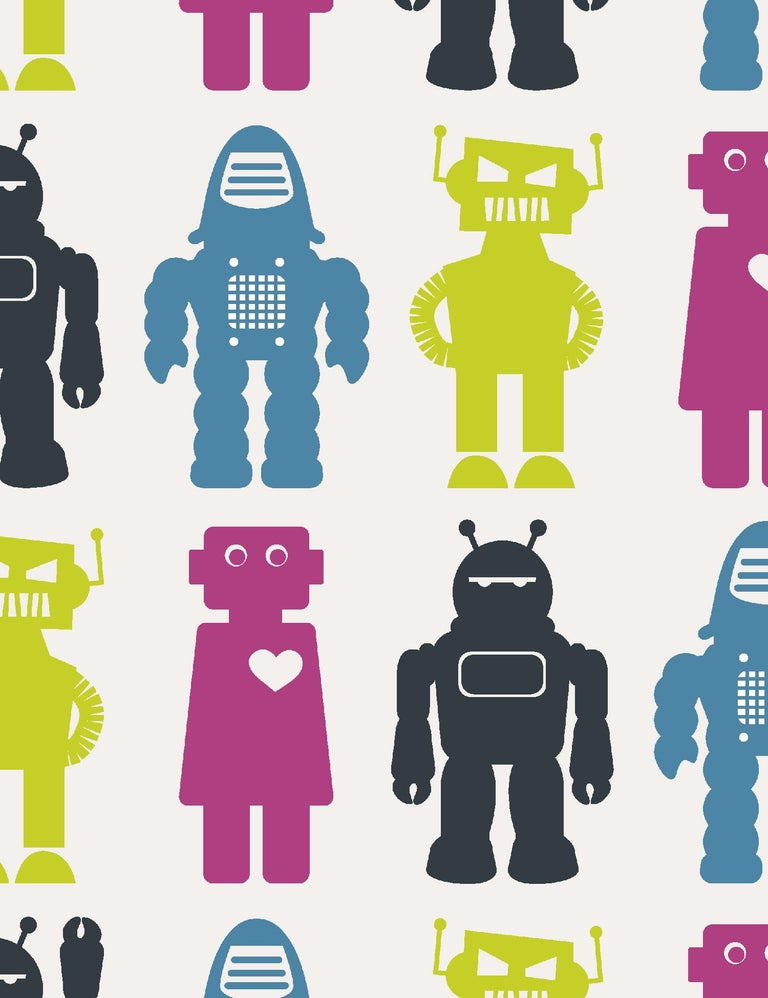 Robots Designer Wallpaper in Classic 'Lime, Magenta, Blue and Charcoal' In New Condition For Sale In Brooklyn, NY