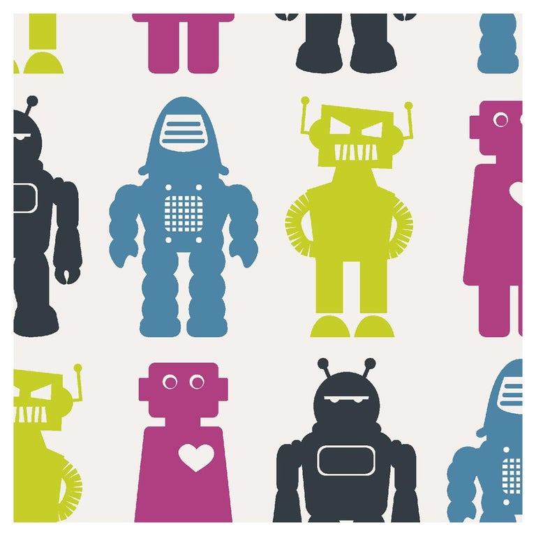 Robots Designer Wallpaper in Classic 'Lime, Magenta, Blue and Charcoal' For Sale