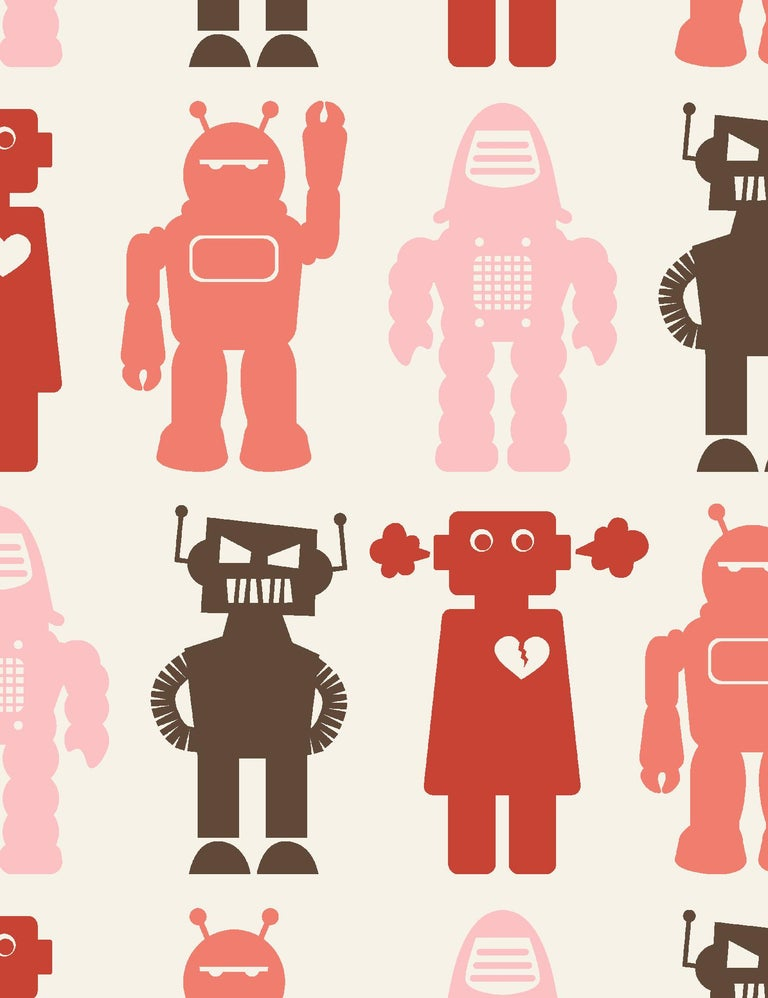 Robots Designer Wallpaper in Red 'Coral, Pink, Red and Brown' In New Condition For Sale In Brooklyn, NY
