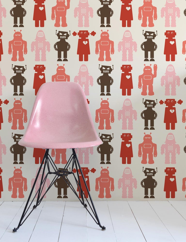 Contemporary Robots Designer Wallpaper in Red 'Coral, Pink, Red and Brown' For Sale