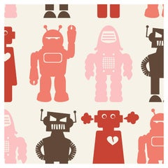 Robots Designer Wallpaper in Color Red 'Coral, Pink, Red and Brown on Cream'