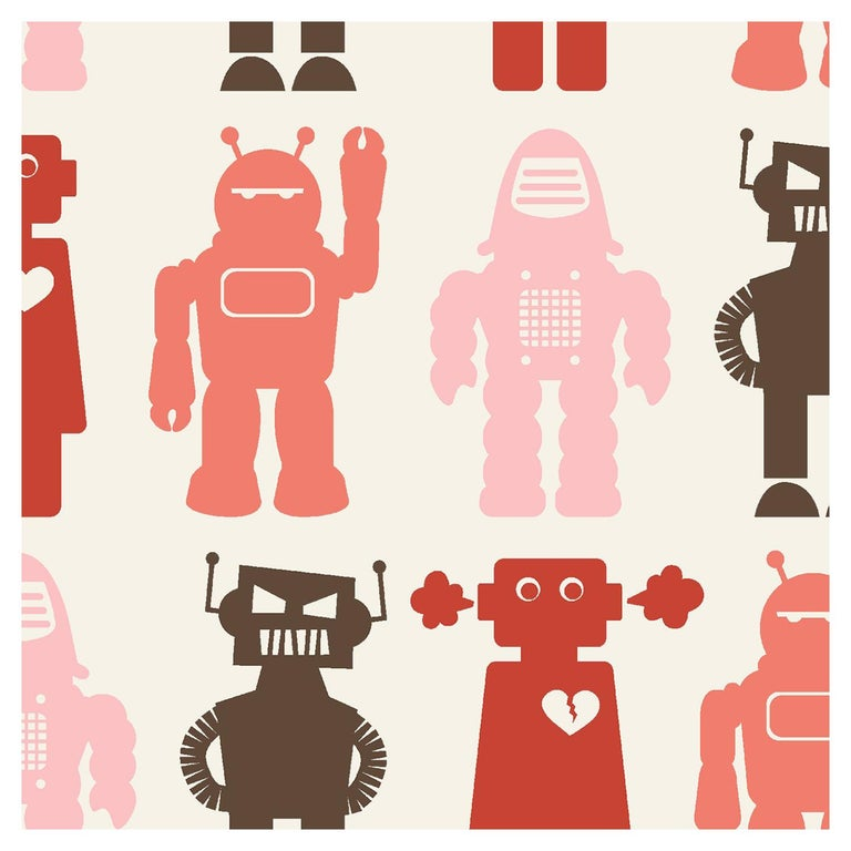Robots Designer Wallpaper in Red 'Coral, Pink, Red and Brown' For Sale