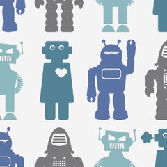 Robots Designer Wallpaper in Color Sky 'Blues and Charcoal on Soft White