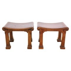 Robsjohn Gibbings Attributed Neoclassical Style Carved Wood Benches