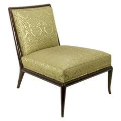 Robsjohn-Gibbings Classic Slipper Chair in Damask Fabric