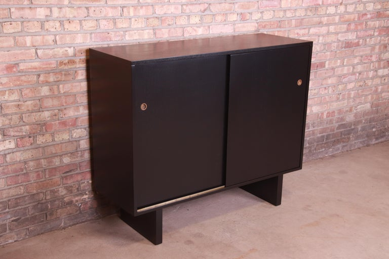 American Robsjohn-Gibbings for Widdicomb Black Lacquered Gentleman's Chest, Refinished For Sale