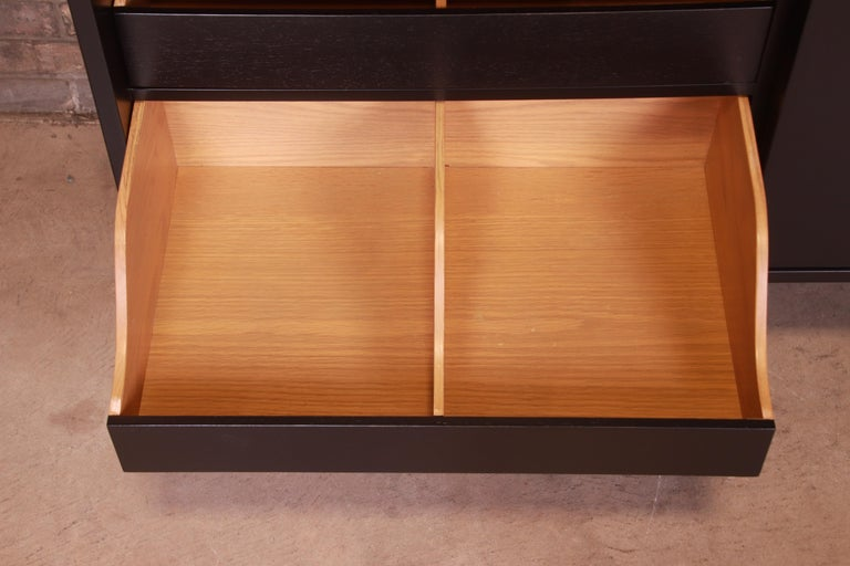 Robsjohn-Gibbings for Widdicomb Black Lacquered Gentleman's Chests, Refinished For Sale 6