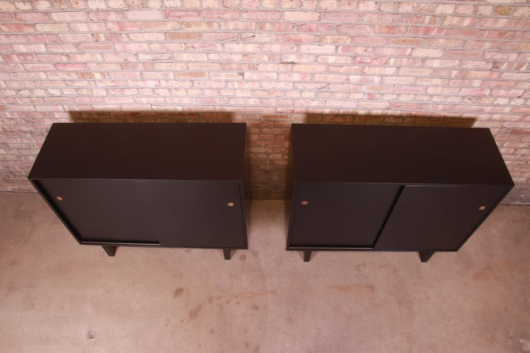 Robsjohn-Gibbings for Widdicomb Black Lacquered Gentleman's Chests, Refinished For Sale 8