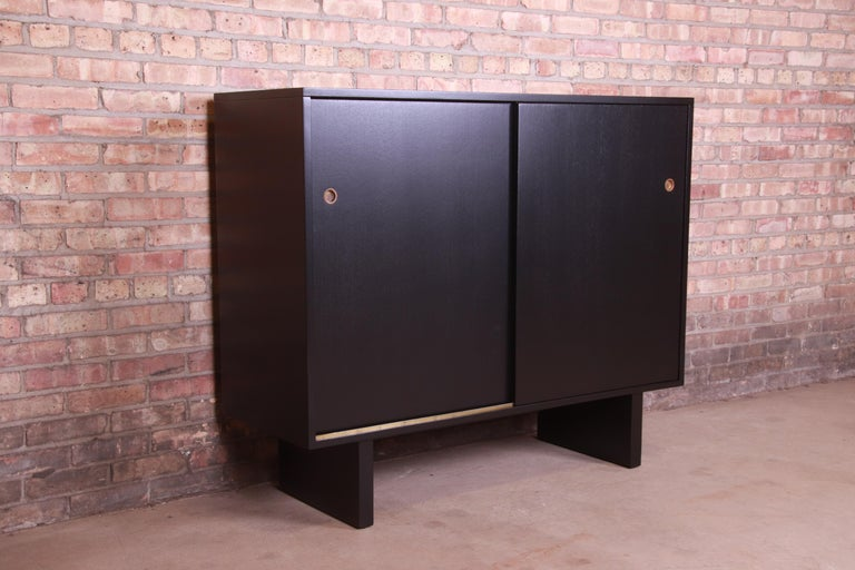 Robsjohn-Gibbings for Widdicomb Black Lacquered Gentleman's Chests, Refinished For Sale 12