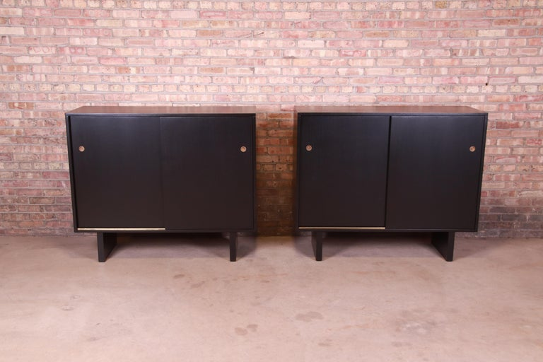 Mid-Century Modern Robsjohn-Gibbings for Widdicomb Black Lacquered Gentleman's Chests, Refinished For Sale