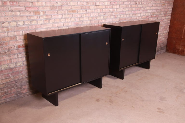 American Robsjohn-Gibbings for Widdicomb Black Lacquered Gentleman's Chests, Refinished For Sale