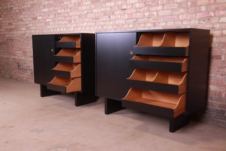 Robsjohn-Gibbings for Widdicomb Black Lacquered Gentleman's Chests, Refinished For Sale 1