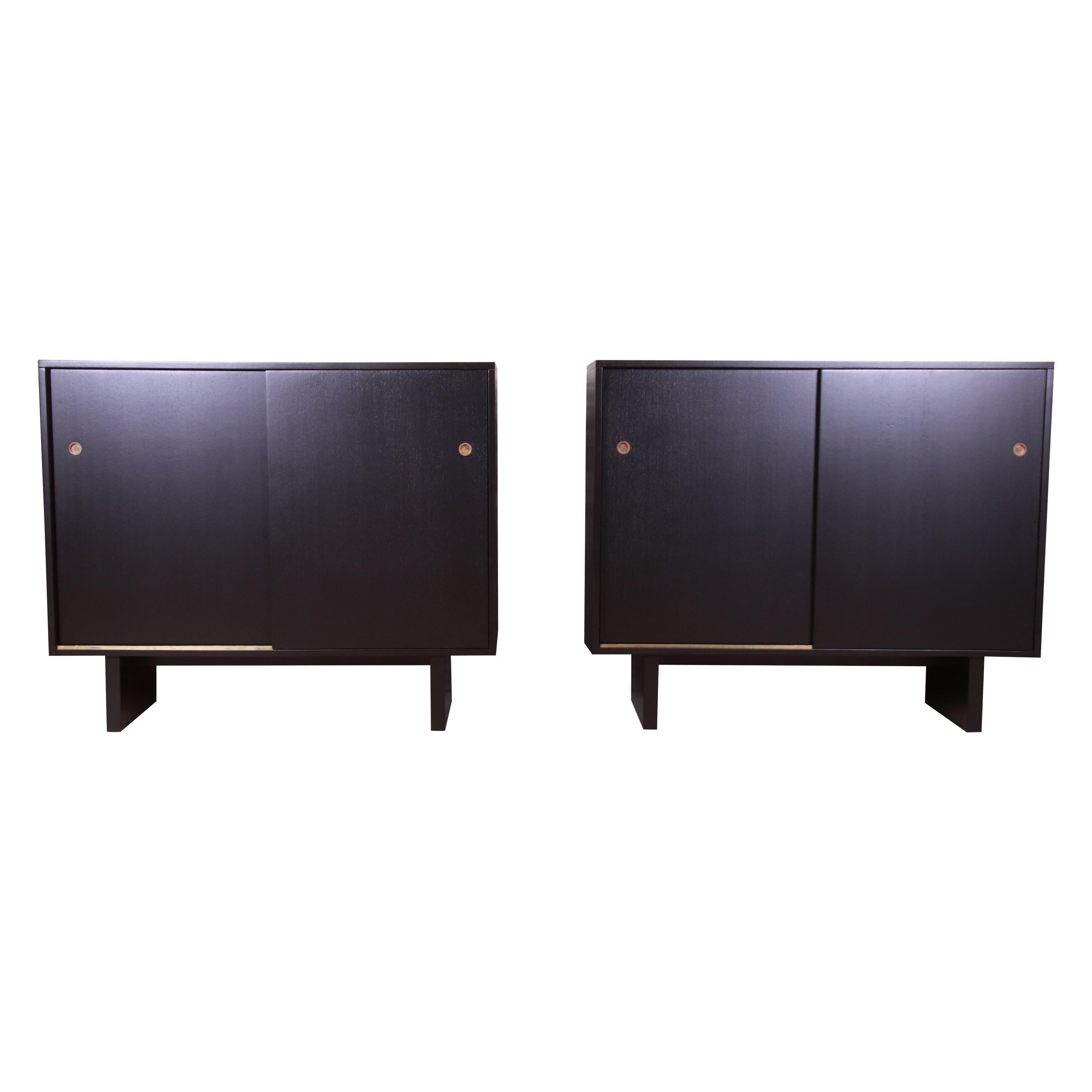 Robsjohn-Gibbings for Widdicomb Black Lacquered Gentleman's Chests, Refinished