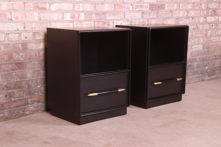 Brass Robsjohn-Gibbings for Widdicomb Black Lacquered Nightstands, Newly Refinished For Sale