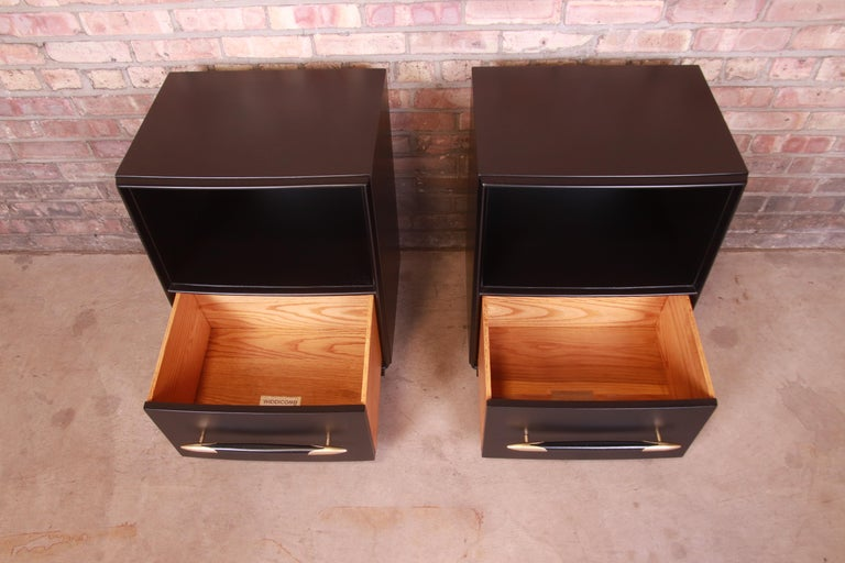 Robsjohn-Gibbings for Widdicomb Black Lacquered Nightstands, Newly Refinished For Sale 2