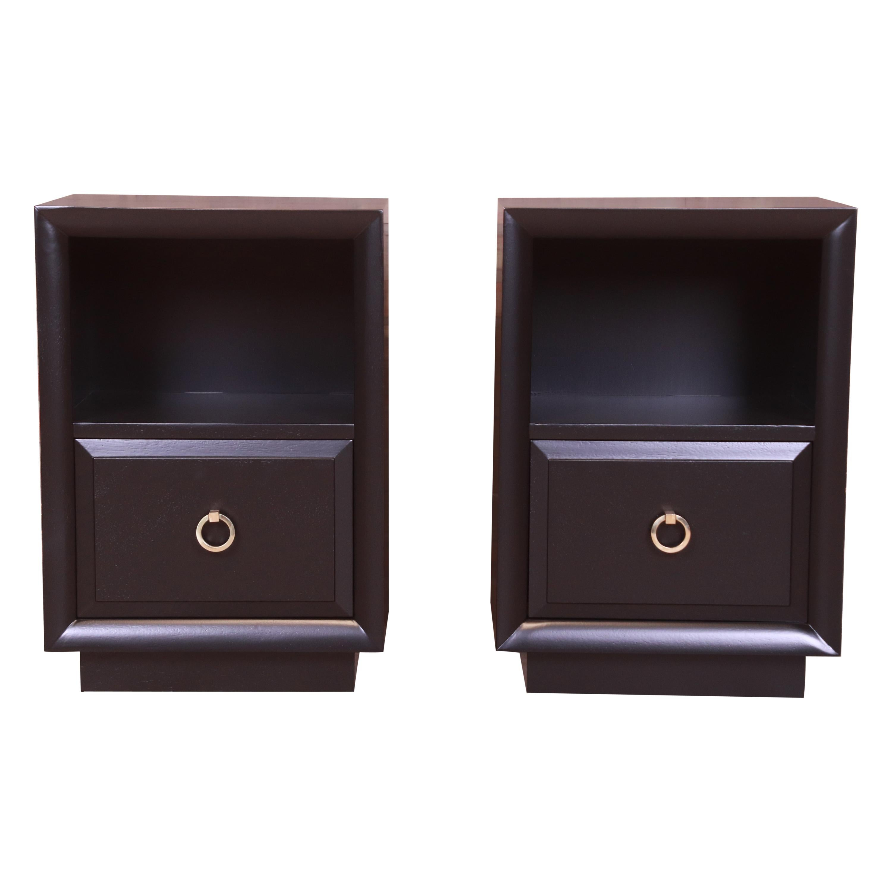 Robsjohn-Gibbings for Widdicomb Black Lacquered Nightstands, Newly Refinished
