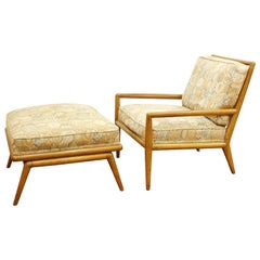 Robsjohn-Gibbings for Widdicomb Mid-Century Modern Lounge Chair and Ottoman