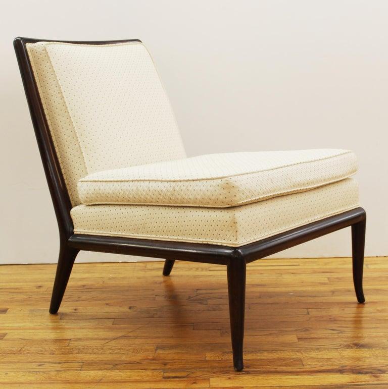 T. H. Robsjohn-Gibbings for Widdicomb Mid-Century Modern pair of slipper chairs with wooden frame, circa 1950.