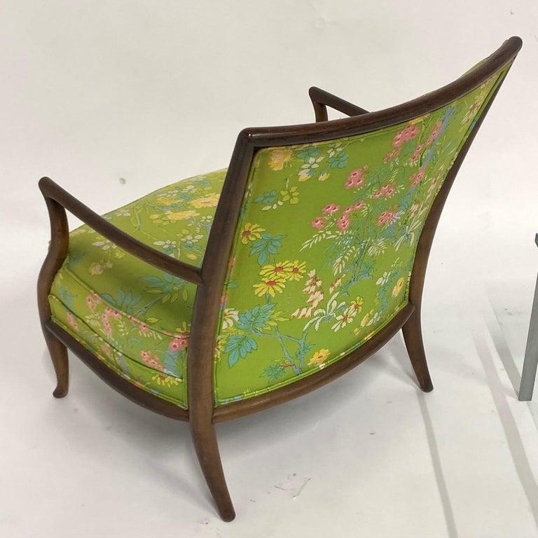 Robsjohn Gibbings for Widdicomb Model 2024 Lounge Chair w. Whimsical Upholstery For Sale 9