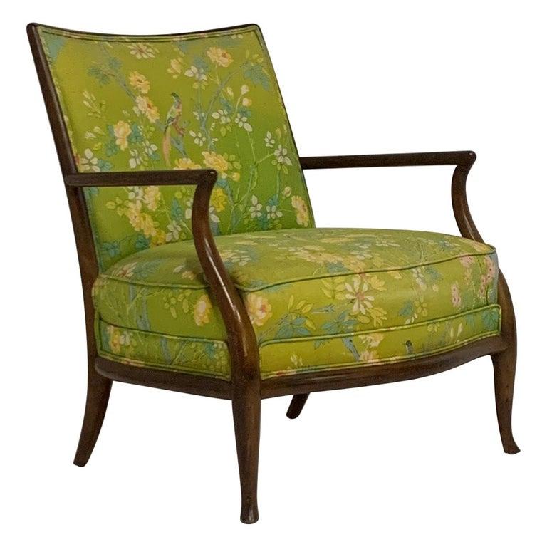 Robsjohn Gibbings for Widdicomb Model 2024 Lounge Chair w. Whimsical Upholstery For Sale