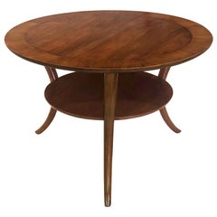 Robsjohn-Gibbings for Widdicomb Round Walnut Klismos Sabre-Leg Round Table