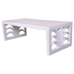Robsjohn-Gibbings for Widdicomb White Lacquered Palm Leaf Coffee Table, Restored