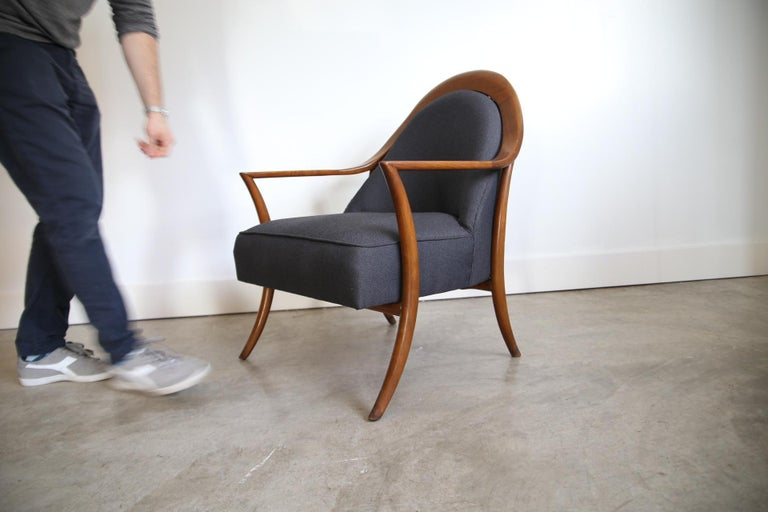 Designer: Robsjohn-Gibbings Manufacture: Widdicomb Period/style: Mid-Century Modern Country: US Date: 1950s  Recently reupholstered.
