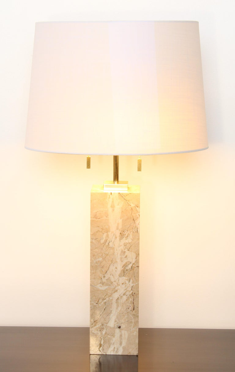 Mid-Century Modern Robsjohn-Gibbings Marble Table Lamp by Hansen Lighting, 1950s For Sale