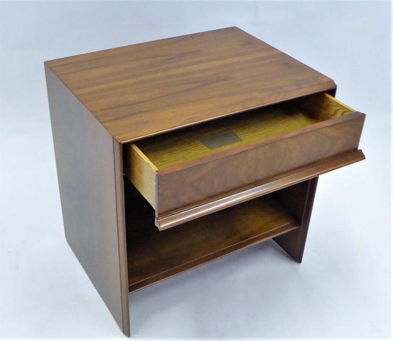 Mid-Century Modern Robsjohn-Gibbings Single Drawer Black Walnut Night Table for Widdicomb For Sale