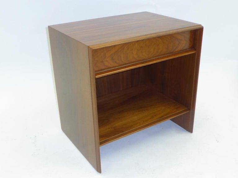 American Robsjohn-Gibbings Single Drawer Black Walnut Night Table for Widdicomb For Sale