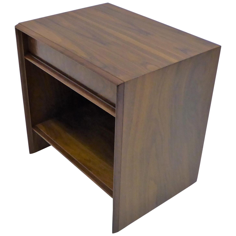 Robsjohn-Gibbings Single Drawer Black Walnut Night Table for Widdicomb